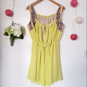 GB yellow green embroidered sleeveless dress